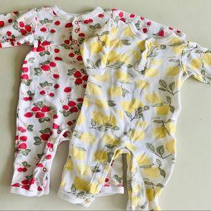 HB lemon & strawberry coveralls twin sleep play